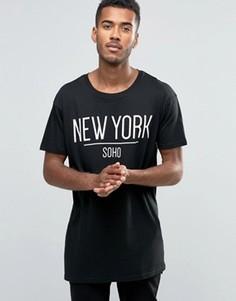Удлиненная футболка Brave Soul New York - Черный