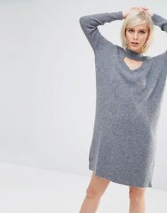 Трикотажное платье с вырезом и отделкой в виде чокера Lost Ink - Серый