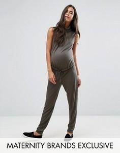 Свободный комбинезон для беременных с высоким воротом в рубчик Missguided Maternity - Зеленый