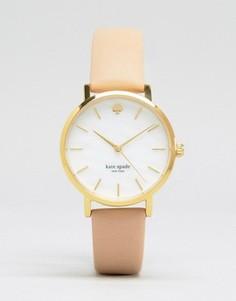 Часы с бежевым кожаным ремешком Kate Spade Metro 1YRU0073 - Розовый