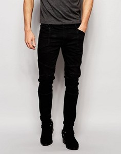 Черные супероблегающие джинсы из селвидж‑денима плотностью 13 унций ASOS - Черный