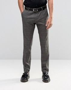 Эластичные брюки слим в клетку Selected Homme - Коричневый