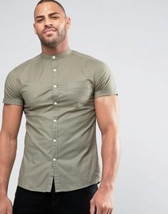 Оксфордская рубашка скинни в стиле casual с воротником на пуговице ASOS - Зеленый
