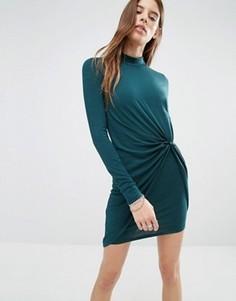 Облегающее платье с высоким воротом и перекрученным дизайном Noisy May - Зеленый