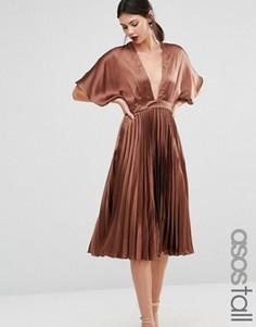 Плиссированное платье миди ASOS TALL - Коричневый
