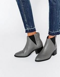 Серые кожаные ботинки челси Pieces Drina - Серый