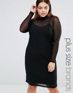 Облегающее платье с прозрачным слоем и высоким воротом Junarose - Черный