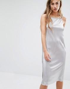 Платье миди цвета металлик на бретельках Miss Selfridge - Серебряный