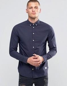 Темно-синяя рубашка слим в мелкий горошек на пуговицах Blend - Темно-синий