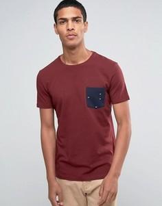 Футболка с круглым вырезом и принтом на кармане Esprit - Красный