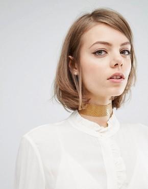 Кожаное ожерелье‑чокер Rock N Rose Jackie - Кремовый
