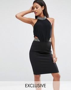 Облегающее платье миди с декоративной отделкой TFNC - Черный