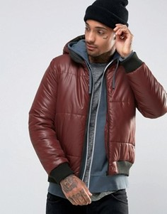 Бордовая стеганая куртка‑пилот с капюшоном ASOS - Красный