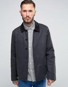 Черная вощеная куртка с вельветовым воротником ASOS - Черный