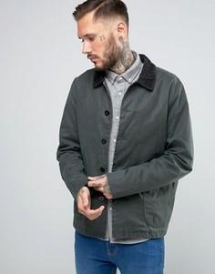 Вощеная куртка цвета хаки с вельветовым воротником ASOS - Зеленый
