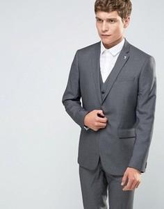 Пиджак зауженного кроя с узором гусиная лапка Farah - Серый