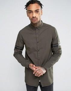Длинная рубашка классического кроя цвета хаки с полосками ASOS - Белый