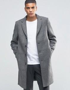 Пальто в елочку Selected Homme - Серый