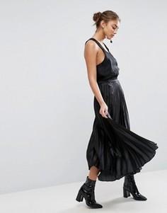 Плиссированная атласная юбка миди ASOS - Черный