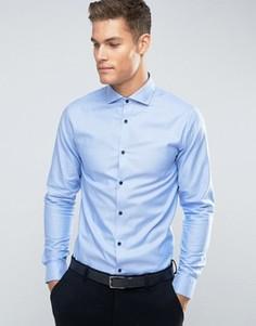 Строгая рубашка зауженного кроя с длинными рукавами Jack & Jones Premium - Синий