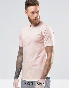 Строгая рубашка скинни с короткими рукавами Only & Sons - Розовый