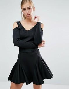 Кроп-топ в рубчик с открытыми плечами Miss Selfridge - Черный
