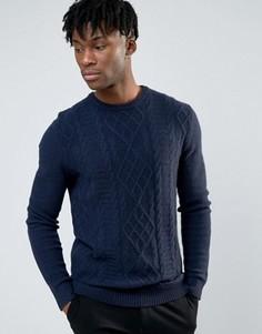 Темно-синий меланжевый джемпер с высоким содержанием овечьей шерсти ASOS - Темно-синий