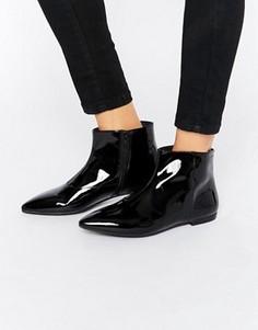 Черные ботинки из лакированной кожи на плоской подошве Vagabond Katlin - Черный