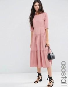 Платье макси со складками спереди ASOS TALL - Розовый