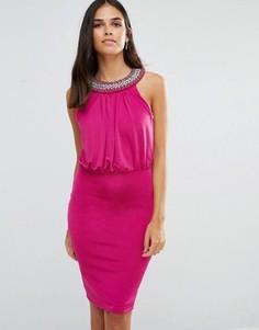 Платье-футляр с отделкой на горловине Jessica Wright - Розовый