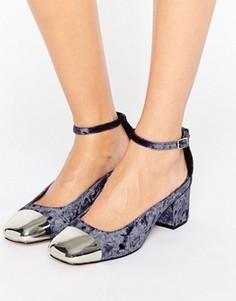 Бархатные туфли на каблуке ASOS SUGAR BABY - Серый