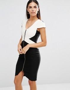 Монохромное платье-футляр на молнии Vesper - Черный