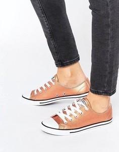 Кроссовки цвета розового золота металлик Converse All Star - Золотой