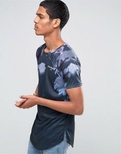 Удлиненная футболка с неоновым принтом Illusive London - Темно-синий