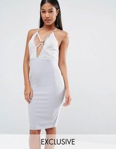 Платье миди с лямками и отделкой пайетками NaaNaa - Серый