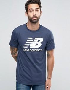 Синяя футболка с классическим логотипом New Balance MT63554_NV - Синий