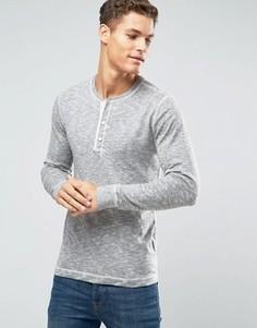 Серый меланжевый топ хенли в стиле ретро Abercrombie & Fitch - Серый