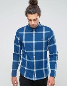 Фланелевая рубашка слим в клетку Hollister - Темно-синий