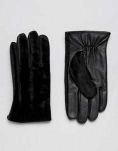 Черные кожаные перчатки с отделкой под шерсть пони ASOS - Черный