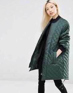 Удлиненная стеганая куртка ASOS - Зеленый