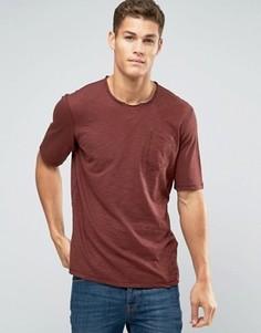 Меланжевая футболка с необработанной горловиной Sisley - Красный