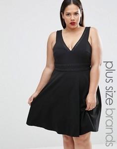 Короткое приталенное платье Lovedrobe Plus - Черный