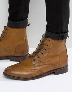 Светло-коричневые ботинки броги на подкладке из искусственного меха ASOS - Рыжий