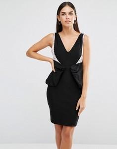 Платье мини с бантом Vesper - Черный