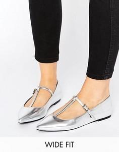 Балетки с острым носком для широкой стопы ASOS LONG LIFE - Серебряный