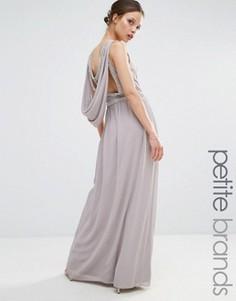 Платье макси с драпированной декорированной спинкой TFNC Petite - Серый