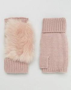 Вязаные митенки с искусственным мехом ASOS - Розовый