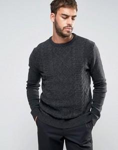 Темно-серый джемпер из овечьей шерсти с узором косы ASOS - Серый