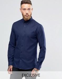Рубашка слим с воротником на пуговицах Heart & Dagger - Темно-синий