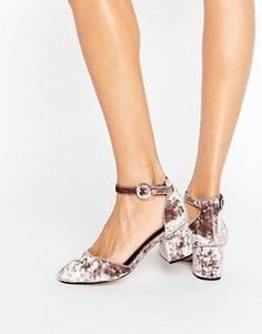 Бархатные туфли на каблуке ASOS SPICE - Бежевый